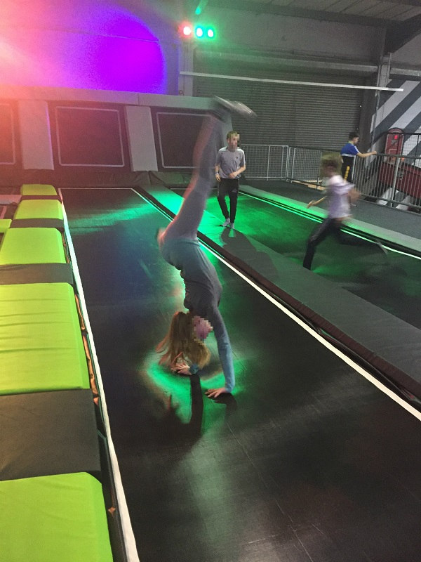 Swiis Yorkshire having fun on the trampolines
